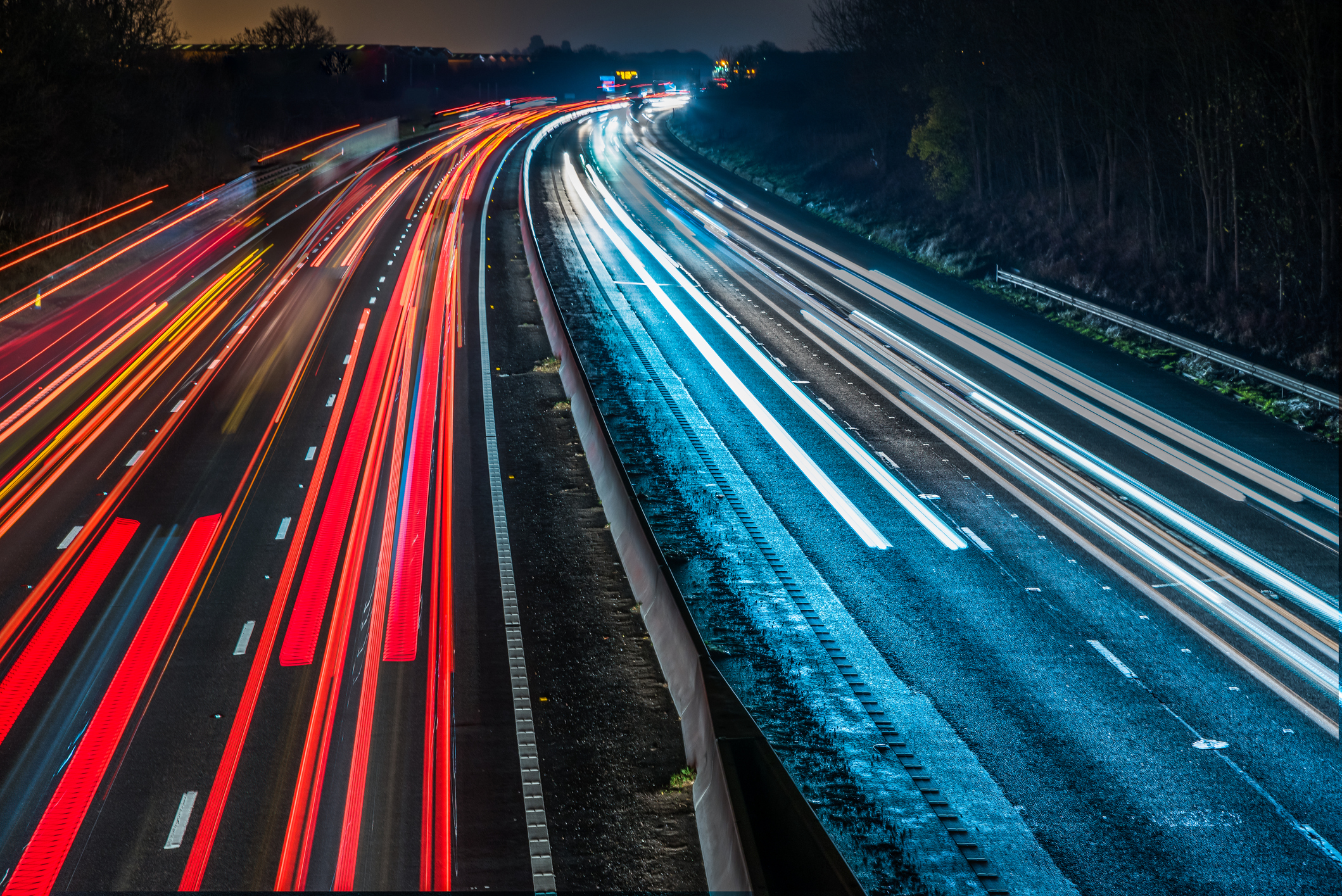 Night View of UK Motorway Highway