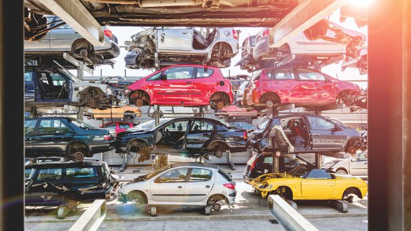 Mechanic Garage full of crashed vehicles